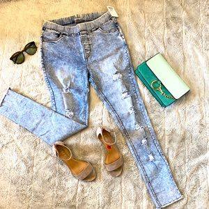 Light blue front ripped  women's jeans